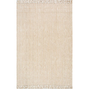 "Nuloom Hand Woven Don Frige Jute7' 6"" x 9' 6"" Area Rug, Natural, large"