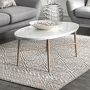 Nuloom Transitional Floral Jeanette 5' x 8' Area Rug, Gray, rollover