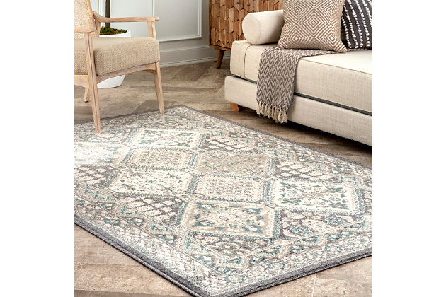 Nuloom Melange Tiles 5' x 8' Area Rug, Charcoal, large