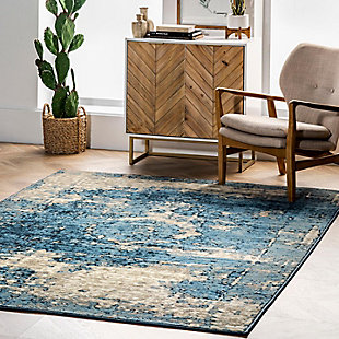 "Nuloom Distressed Foggy Medallion 5' 3"" x 7' 8"" Area Rug, Blue, rollover"