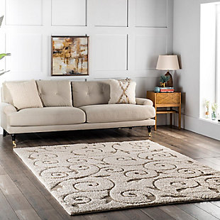 "Nuloom Carolyn Shaggy Curves 5' 3"" x 7' 6"" Area Rug, Cream, rollover"