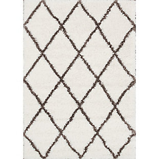 "Nuloom Classic Diamond Shag 5' 3"" x 7' 6"" Area Rug, Brown, large"