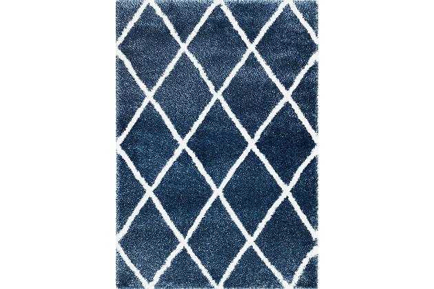 Nuloom Classic Diamond Shag 4' x 6' Area Rug, Blue, large