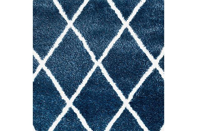 "Nuloom Classic Diamond Shag 6' 7"" x 9' Area Rug, Blue, large"