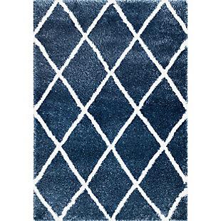 "Nuloom Classic Diamond Shag 7' 10"" x 10' Area Rug, Blue, large"