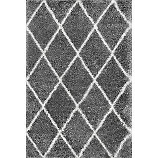 "Nuloom Classic Diamond Shag 6' 7"" x 9' Area Rug, Ash, large"