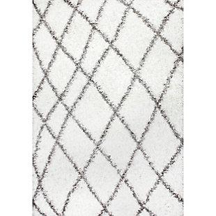 """Nuloom Alvera Easy Shag 5' 3"""" x 7' 6"""" Area Rug, White, large"""
