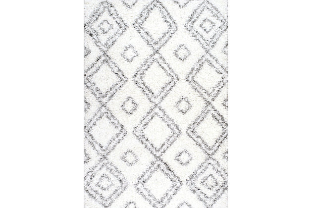 "Nuloom Lola Easy Shag 5' 3"" x 7' 6"" Area Rug, White, large"
