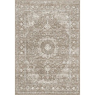 "Nuloom Lindsay Vintage Persian 6' 7"" x 9' Area Rug, Brown, large"