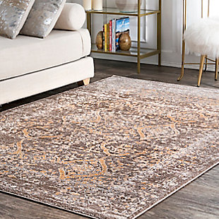 "Nuloom Vintage Kylie Faded 5' x 7' 5"" Area Rug, Brown, rollover"