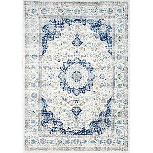 """Nuloom Traditional Medallion Verona 5' x 7' 5"""" Area Rug, Blue, large"""