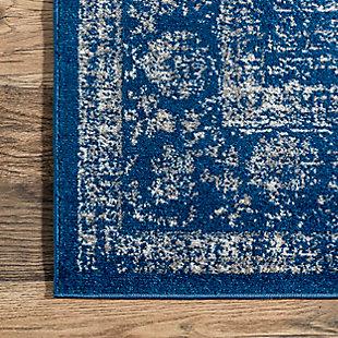 Nuloom Traditional Medallion Verona 5' Round Rug, Dark Blue, large