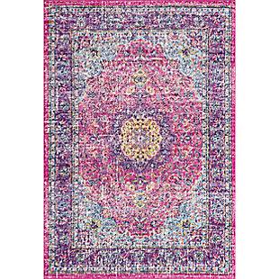 """Nuloom Traditional Medallion Verona 6' 7"""" x 9' Area Rug, Pink, large"""