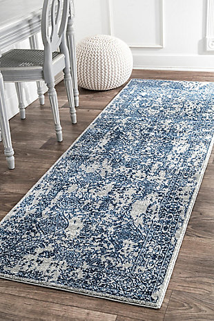 "Nuloom Vintage Odell Floral 2' 8"" x 8' Runner Rug, Light Blue, large"