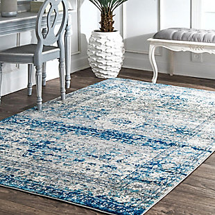 "Nuloom Vintage Medallion Lela 5' x 7' 5"" Area Rug, Light Blue, rollover"