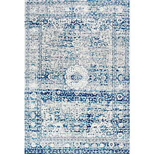 "Nuloom Vintage Medallion Lela 5' x 7' 5"" Area Rug, Light Blue, large"