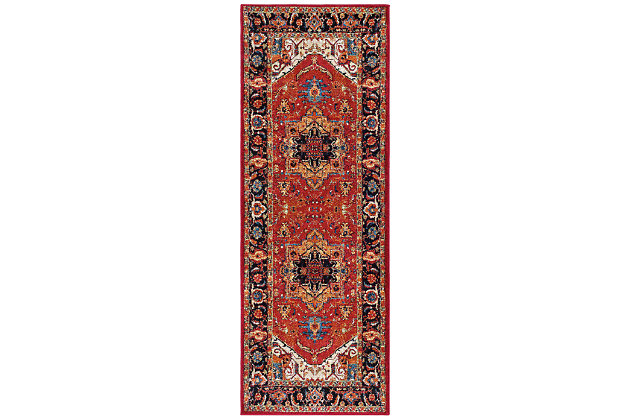 "Home Accents Serapi 2' 7"" x 7' 3"" Runner, Red, large"