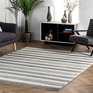 "Nuloom Striped Kelsi 5' 3"" x 7' 7"" Area Rug, Gray, rollover"