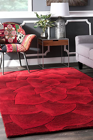 Nuloom Hand Tufted Gol 5' x 8' Area Rug, Red, rollover