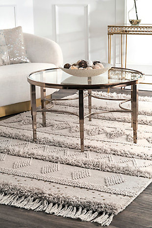 Nuloom Lauretta Sequined Tribal Bands 5' x 8' Area Rug, Stone, rollover