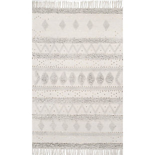 Nuloom Lauretta Sequined Tribal Bands 5' x 8' Area Rug, Stone, large