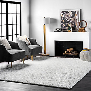 "Nuloom Marleen Plush Shag 5' 3"" x 7' 6"" Area Rug, White, rollover"