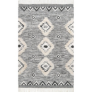 Nuloom Savannah Shaggy Moroccan Fringe 5' x 8' Area Rug, Black, large