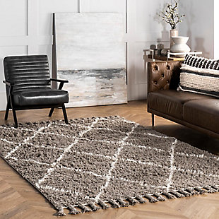 Nuloom Hand Knotted Fez Shag 5' x 8' Area Rug, Gray, rollover