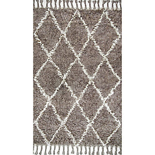 Nuloom Hand Knotted Fez Shag 5' x 8' Area Rug, Gray, large