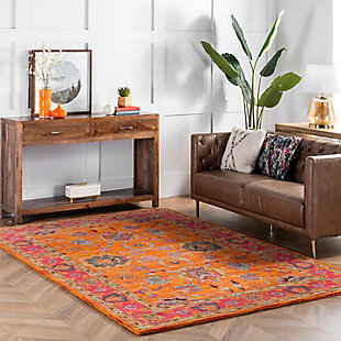 Nuloom Hand Tufted Montesque 6' Square Rug, Orange, rollover