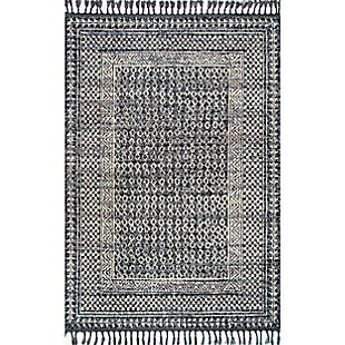 Nuloom Claudia Checkered Diamonds Tassel 5' x 8' Area Rug, Ivory Multi, large