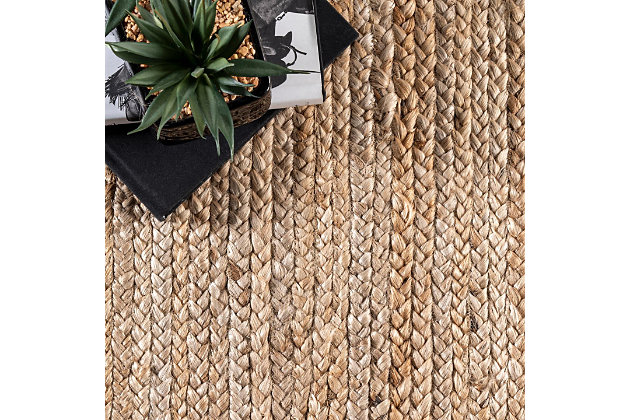Nuloom Hand Woven Rigo Jute 5' x 8' Area Rug, Natural, large