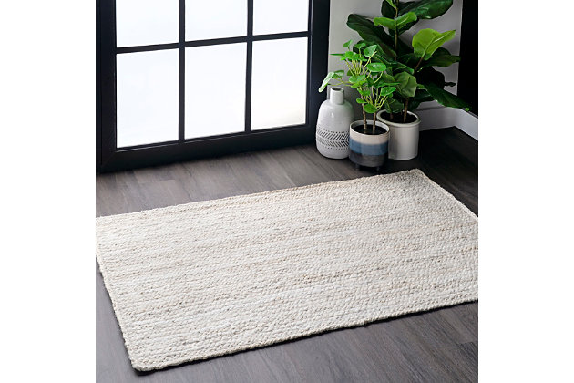 "Nuloom Hand Woven Rigo Jute 2' 3"" x 4' Accent Rug, Off White, large"