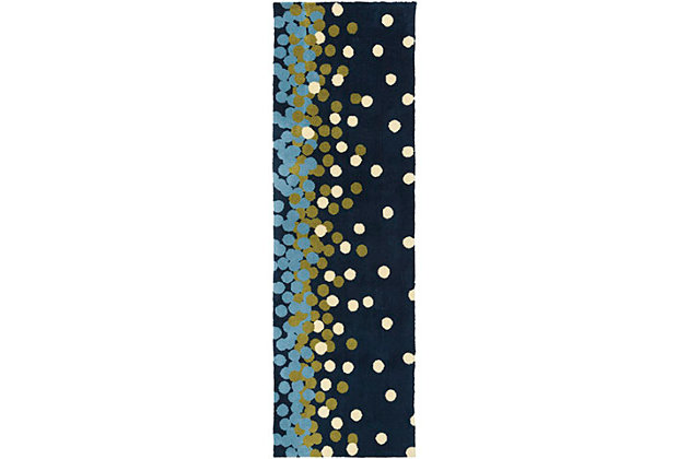 """Home Accents Abigail 2'6"""" x 8' Rug, Blue/White/Green, large"""