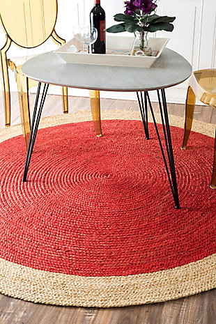 Nuloom Hand Woven Eleonora 4' Round Rug, Red, large