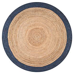 Nuloom Hand Woven Eleonora 6' Round Rug, Navy, large