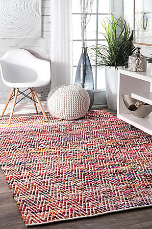Nuloom Hand Woven Chevron Rochell 5' x 8' Area Rug, Magenta, rollover