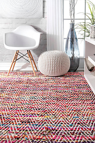 Nuloom Hand Woven Chevron Rochell 5' x 8' Area Rug, Magenta, large
