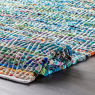 Nuloom Hand Woven Chevron Rochell 5' x 8' Area Rug, Green, large