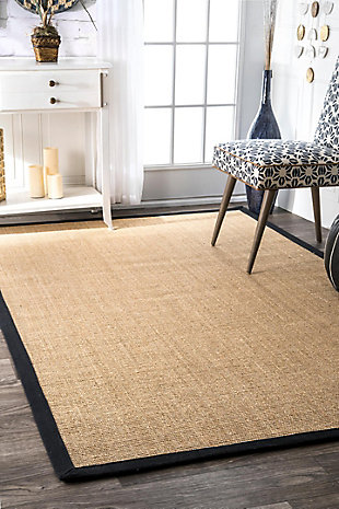 Nuloom Machine Woven Orsay Sisal 5' x 8' Area Rug, Black, rollover