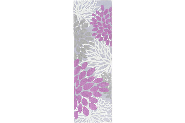 """Home Accents Abigail 2'6"""" x 8' Rug, Purple, large"""