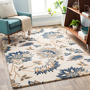 Home Accent Davilla 5' x 8' Area Rug, Blue, rollover