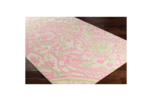Home Accents Lullaby 2' x 3' Rug, Pink/White/Green, large