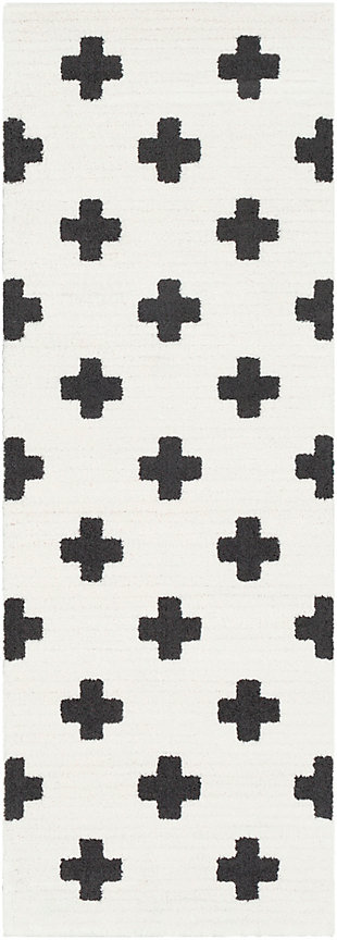 """Home Accents Moroccan Shag 2' 7"""" x 7' 3"""" Runner, Black/White, large"""