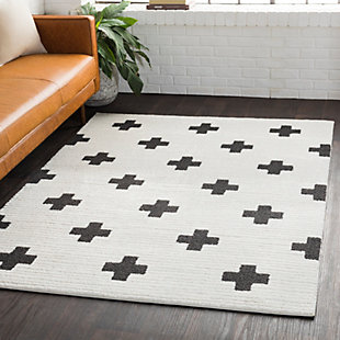 "Home Accents Moroccan Shag 6' 7"" x 9' 6"" Rug, Black/White, large"