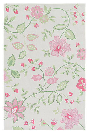 Home Accents Skidaddle 2' x 3' Rug, Pink/White/Green, large