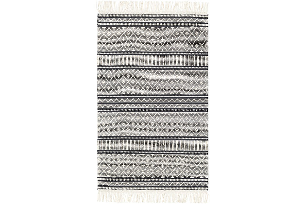 "Home Accent Gory 5' x 7'6"" Area Rug, Black/Gray, large"