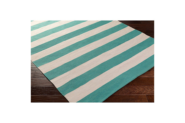 Home Accents Artistic Weavers City Park Lauren Rug 3' x 5', Teal/White, large
