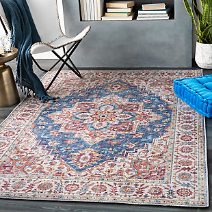 """Home Accent Greenburg 5' x 7'6"""" Area Rug, Blue, rollover"""