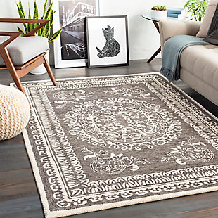 "Home Accent Wiltshire 5' x 7'6"" Area Rug, Black/Gray, rollover"